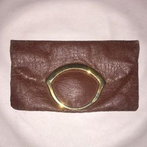 Made in Spain leather foldover clutch
